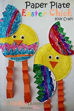 Paper Plate Easter Chick Kids Craft! Easy and fun arts & craft plus fine motor skills development perfect for celebrating Spring! - abccreativelearning.com #ArtAndCraftForChildren