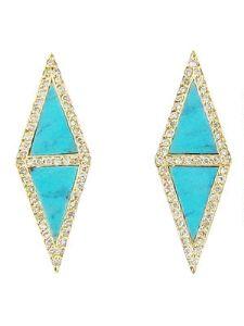 Double Turquoise & Diamond Triangle Stud Earrings