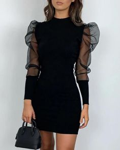 Landscap Women Bodycon Dress O-Neck Lantern Long Sleeve Perspective Mesh Casual Mini Dress Club Party Dresses Cute Casual Outfits, Stylish Outfits, Casual Dresses, Ladies Dresses, Tight Dresses, Mode Outfits, Dress Outfits, Fashion Dresses, Fashion Shoes