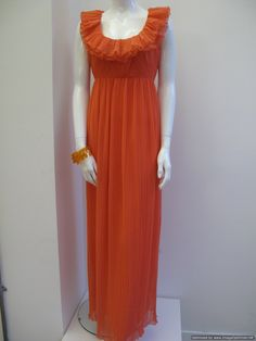 1960's Tangerine chiffon crystal pleated vintage evening gown.