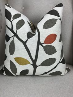 Decorative Gray Tree Leaves Pillow Cover, Gold Throw Pillow, Orange Throw Pillow, Gray Cushion Cover, Housewares Decor, Home Living by SewDeevinePillows on Etsy