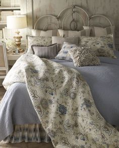 Shop luxury bedding on sale at Horchow. Find amazing deals on clearance luxury bedding, furniture, lamps, fine furnishings, and more. Pretty Bedroom, Cozy Bedroom, Dream Bedroom, Bedroom Decor, White Bedroom, Master Bedroom, Cottage Bedrooms, Upstairs Bedroom, Master Suite