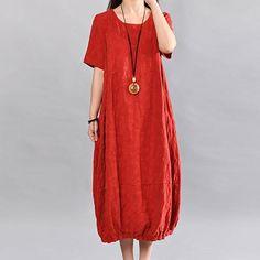 Retro Loose Pocket Women Red Dress
