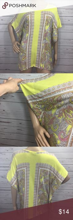 H & M Paisley Top Yellow butterfly Sleeves Yellow Paisley viscose top with shorts sleeve butterfly sleeves loosefitting great condition H & M Tops Tunics