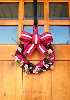 Cherry Blossom and Fuschia Burlap Spring Wreath, a basic tutorial.