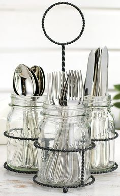 """Features:  -Del Sol collection.  -Shape: Cylinder.  Material: -Glass.  Color: -Clear.  Product Type: -Flatware Caddy.  Number of Items Included: -2. Dimensions:  -Jar: 6"""" H.  Overall Width - Side to S"""