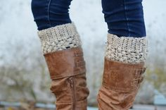 Womens Boot Cuffs // Boot Socks // Boot Toppers // Oatmeal // Puffy Boot Cuffs // Delivered After Christmas. $30.00, via Etsy.
