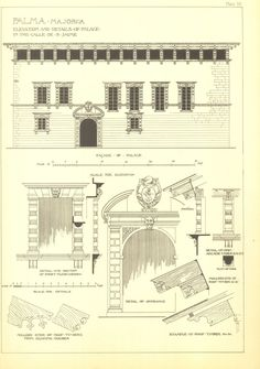 Architectural Print, Palma de Majorca Palace Elevation and Details, Spanish Renaissance Andrew N Prentice