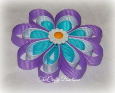 Small Flower Bow  Purple & Turquoise Flower by TandRCraftyBowtique