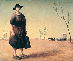 """The Drover's Wife"" by Russell Drysdale, 1945. The painting depicts a flat, barren landscape with a woman in a plain dress in the foreground—a man, a wagon and two horses are in the background."