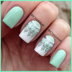 Green and White Nails
