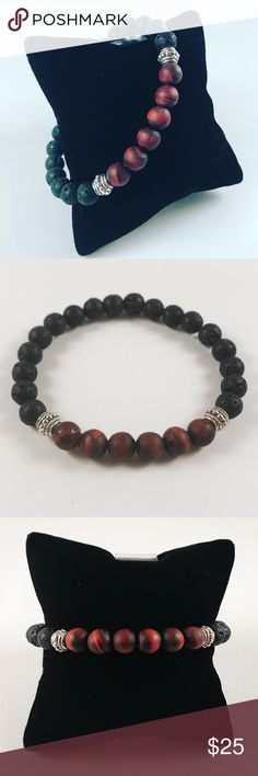 Men beaded bracelet mat red tiger eye & lava rock Men beaded bracelet. Fits most , 7.5 to 8.5 inch wrist. Handmade by me , never worn by anyone. Made with Mat red tiger eye beads and black lava rock / volcano rocks . Tibetan silver deco charm. I ship fast!!✈️Bundle and save !! ( 10 % off bundles) . Any questions let me know ! No transactions outside Poshmark!! Accessories Jewelry
