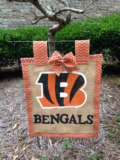 A personal favorite from my Etsy shop https://www.etsy.com/listing/399774143/cincinnati-bengals-garden-flag