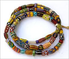 Small antique Venetian glass trade beads from the early Many great beads in this mix. The strand measures approximately 28 inches in length. African Trade Beads, African Jewelry, Tribal Jewelry, Boho Jewelry, Antique Jewelry, Beaded Jewelry, African Bracelets, Jewellery, Polymer Clay Beads