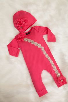 ff0cbe0cd847 Items similar to Hot Pink Infant Layette Cotton Baby Romper with Rhinesones  and Chiffon Comes with Matching Hat on Etsy