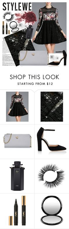 """""""STYLEWE 1"""" by gaby-mil ❤ liked on Polyvore featuring Balmain, Gianvito Rossi, Gucci, Yves Saint Laurent, MAC Cosmetics, dress, lace, bag and stylewe"""