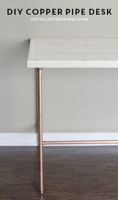 DIY Copper Pipe Desk | UpcycledTreasures.com