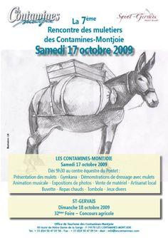 L'affiche de la 7eme Rencontre des Muletiers aux Contamines Montjoie (74), le samedi 17 octobre 2009. Par Deny Fady. Courtesy: Association HIPPOTESE, Villers, Levier (France).