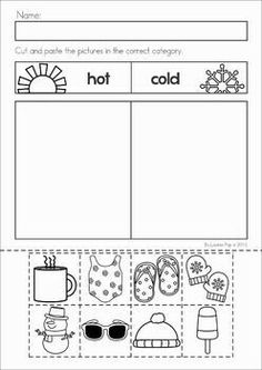 Winter Preschool Math and Literacy No Prep worksheets and activities. A page from the unit: hot and cold weather sorting prep at home Preschool Curriculum, Preschool Science, Preschool Lessons, Preschool Worksheets, Preschool Learning, Classroom Activities, Preschool Crafts, Winter Preschool Activities, Sorting Activities