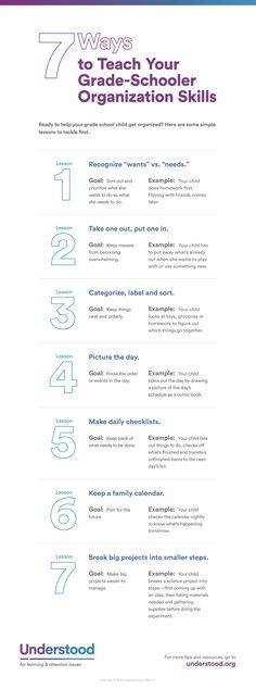 """7 Ways to Teach Your Grade-Schooler Organizational Skills"" (#INFOGRAPHIC)"