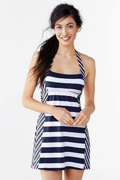 Women's Beach Living Halter Dresskini Swimsuit Top - Colorblock Stripe from Lands' End