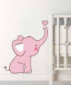 Look at this #zulilyfind! Pink Baby Elephant Wall Decal #zulilyfinds