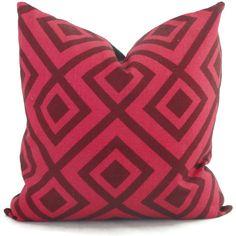 David Hicks La Fiorentina Groundworks Dark Wine & Magenta Linen Geometric Decorative Pillow Cover  18x18, 20x20, 22x22, Eurosham or lumbar