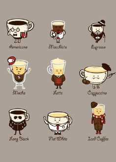 """Coffee Personality"" Funny Cartoon Coffee Drink Types w/ ...…"