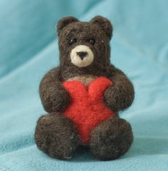 Needle Felted Bear with Heart by scratchcraft on Etsy