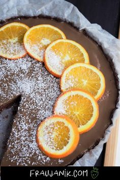 Chocolate and orange tart - Essen - Vegan Tart Recipes, Vegan Recipes, Chocolate And Orange Tart, Tarte Vegan, Vegan Sweets, Snacks, Delicious Desserts, Food Porn, Baking