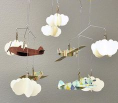 Airplane and Cloud Hanging Mobile Perfect for a Boy for the Bedroom or a Baby Shower. $49.99, via Etsy. I want to make this for Karston's room!