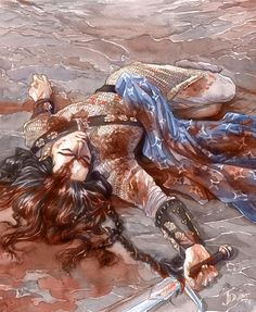 "The Death of Fingon by =Gold-Seven "". . . and they beat him into the dust with their maces, and his banner, blue and silver, they trod into the mire of his blood.""  Balrogs are dicks"