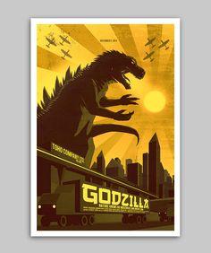Godzilla - Poster - 13X19. $20.00, via Etsy.