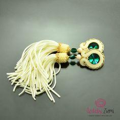 Clip on Tassel Long Emerald Creamy Gold Soutache Earrings - Long Unique Green…