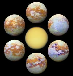 Saturn's moon Titan as it would appear in visible light (centre) and infrared light images acquired over multiple flybys by the Cassini mission. Constellations, Cosmos, Explanation Writing, Well Images, Saturns Moons, Image Center, Astronomy Pictures, Nasa Images, Science Images