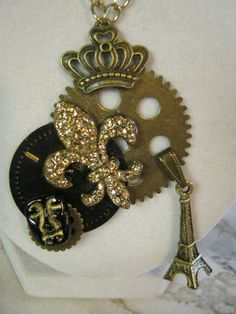 Steampunk in Paris Charm Necklace by jansbeads on Etsy, $42.50