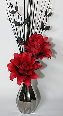 Artificial silk flower arrangement red black white flowers in silver artificial flowers red silk dragon flower arrangement in silver vase mightylinksfo