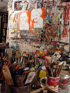 www.ompomhappy.com Feature on self-taught painter Matt Sesow in his Washington DC studio where he works and sleeps for half the week. The rest of the week he spends with his wife, Dana Ellyn in her studio 2 miles away. You can read my interview with Matt on Om Pom Happy #art #outsiderart #rawbrut #outsiderartist #rawart #painter #artstudio #studios #artiststudios #americanartist #washingtondc #studio #mattsesow #sesow