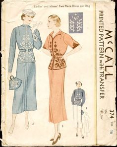 McCall 374   ca. 1936 Ladies' and Misses' Two-Piece Dress and Bag