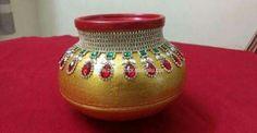 Kalash Decoration, Thali Decoration Ideas, Diwali Decorations, Festival Decorations, Handmade Decorations, Pottery Painting Designs, Pottery Designs, Coconut Decoration, Wedding Gift Wrapping
