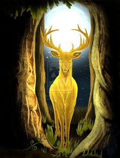 "Druids Trees:  ""Cernunnos, The Golden King #Stag,"" by sapphire-blackrose, at deviantART."