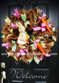 Deco Mesh Wreath Burlap Wreath Easter Burlap by poshcreationsKY, $110.00