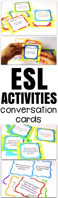 """It's difficult to get ESL students speak. I'll help you with lots of conversation cards. Practice both grammar and speaking because cards cover """"Would you rather?"""", """"Have you ever?"""" and Conditionals questions. Build students' conversational confidence in an exciting way!"""