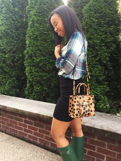 What Nicole Wore: Plaid Meets Femme @rebeccaminkoff @hunterboots @expresslife @shopfrancescas #styleblogger