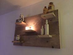 Wandbord Uil gemaakt van gebruikt steigerhout