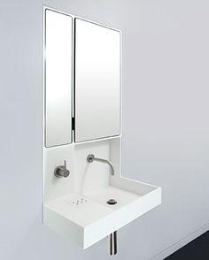 The Recess Lav (sink, faucet, backsplash & medicine cabinet).  Perfect for a small modern bath.