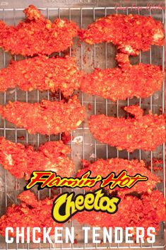 Cheeto Chicken Tenders These Hot Cheetos Chicken Tenders are oven baked and so easy to make. They are spicy, crunchy, flavorful on the outside and tender and juicy on the inside. This Flaming Hot Cheetos Chicken recipe is gonna knock your socks off! Hot Cheeto Chicken Recipe, Hot Cheetos Chicken, Spicy Cheetos, Chicken Tender Recipes, Fried Chicken Recipes, Chicken Tenders Crockpot, Fried Chicken Wings, Wings In The Oven, Fried Chips