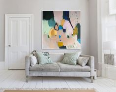 """PRINT of ABSTRACT PAINTING large modern giclee print of painting """"Out of Her Loop 4"""" Blue Abstract Painting, Modern Painting, Abstract Print, Damask Wallpaper, Love Wallpaper, All Print, Black Print, Pink Blue, Black Peach"""