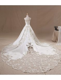 Gorgeous A-line Strapless Cathedral Train Satin and Lace with Pearls Luxury Wedding Dress