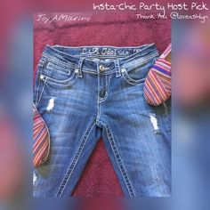 """LA Idol Jeans  H/P 5/5  L.A. Idol jeans boot cut easy fit with embellished flat pockets.  Rhinestones on front pockets.  Front zipper with a rhinestone button closure.  Super cute with small rips on front. 32-1/2"""" inseam. L A Idol USA Jeans Boot Cut"""